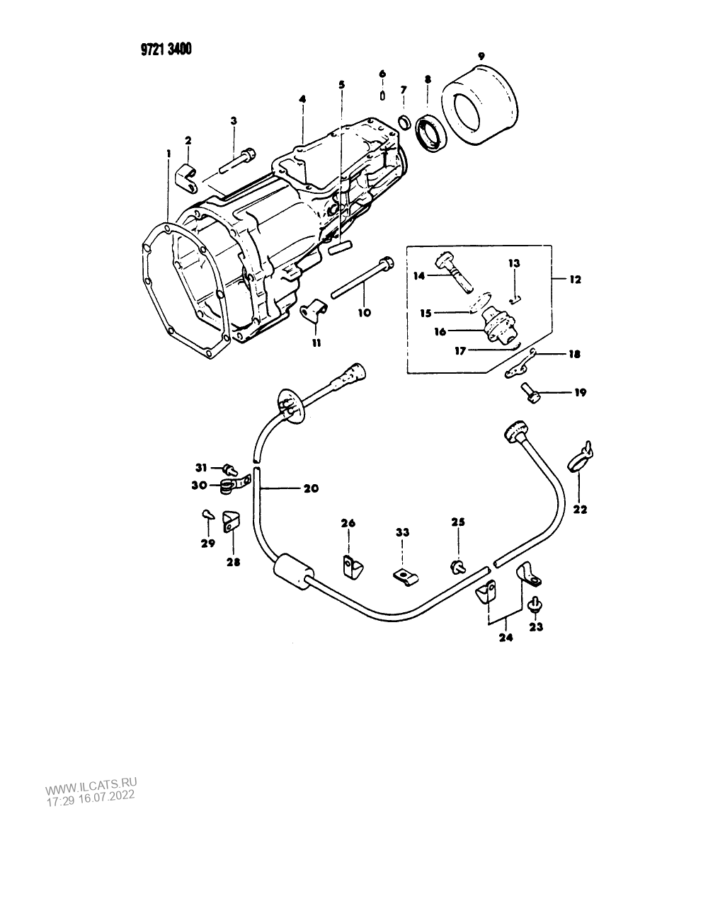 EXTENSION, SPEEDOMETER CABLE AND PINION, MANUAL TRANSMISSION, 5