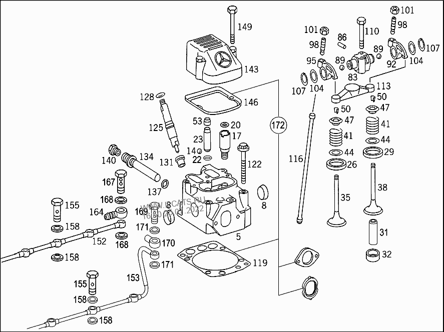 CYLINDER HEAD,VALVES,GASKET KIT MERCEDES OM 460 LA&(460922)