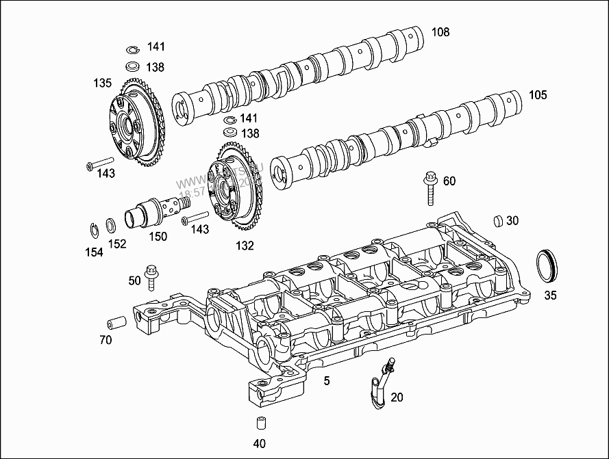 CAMSHAFT BEARING HOUSING AND CAMSHAFT MERCEDES C 200