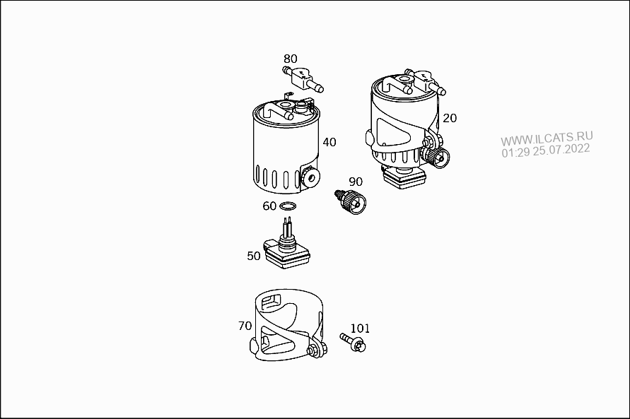 FUEL FILTER,LINES AND THERMOSTAT MERCEDES 414; 408 CDI