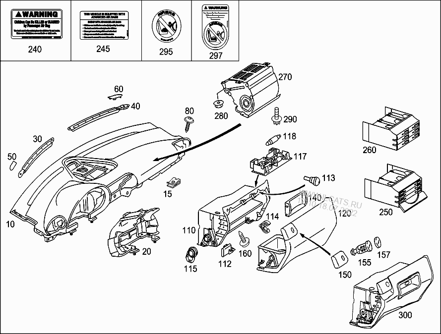 INSTRUMENT PANEL AND GLOVES COMPARTMENT BOX WITH PASSENGER