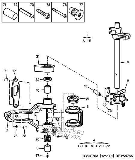spindles forks gear change control ext PEUGEOT 807 family