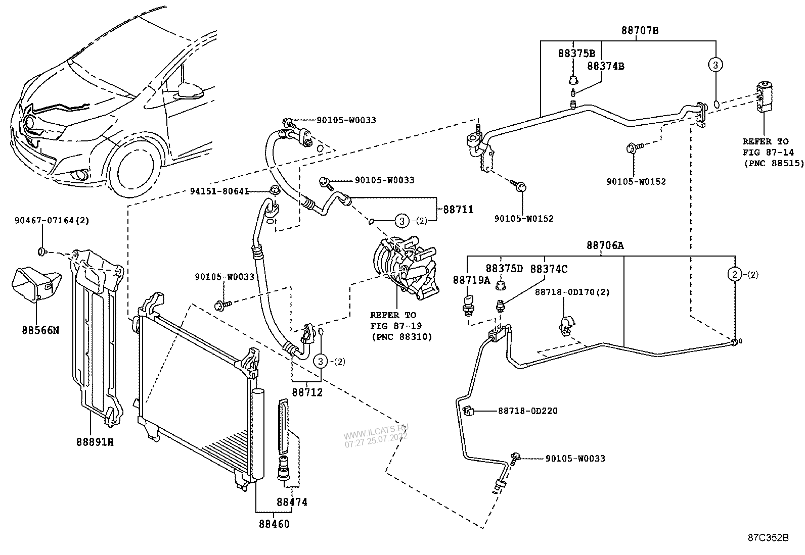 HEATING & AIR CONDITIONING - COOLER PIPING TOYOTA YARIS