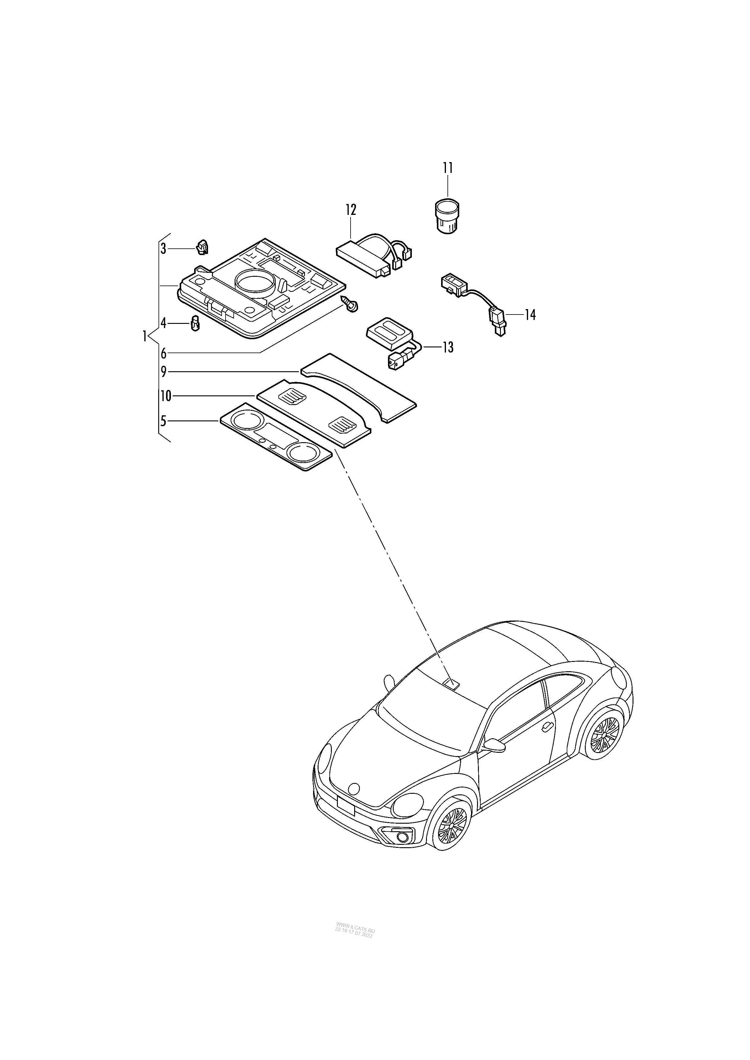 interior and reading light  for vehicles with anti-theft